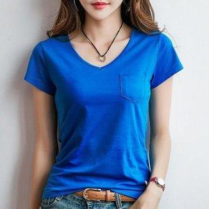 여성티셔츠 반팔티 면티 맨투맨 셔츠 브이넥 여름AD18