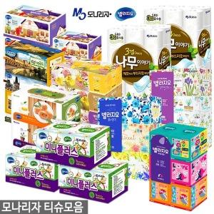 모나리자 미용티슈 300매~180매 x 24개 각티슈/곽티슈