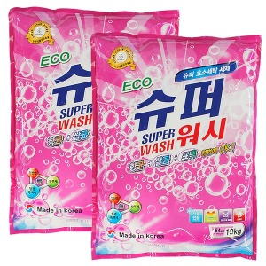 에코 슈퍼워시 (가루세제) 10kg+10kg  세탁세제 세제