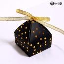 도트피라미드 리본상자(블랙골드:6x6x7.5cm-10매)