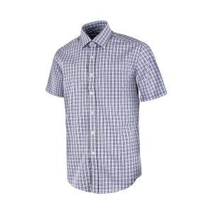 삼선 라인 체크 화이트 반팔 셔츠_DW43-1