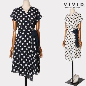 VIVID SG  VIVID SG  도트 러플장식 벨티드 원피스 VS926049