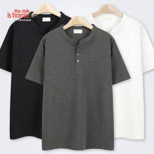 홈런 베이직 고시 헨리넥 반팔 티셔츠 MD9583