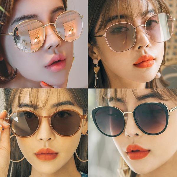 미러 여자 선글라스 패션 UV차단 편광뿔테 틴트
