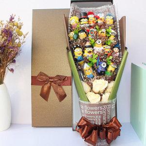 미니언 피규어 꽃다발 10종 입학 졸업 기념일 축하