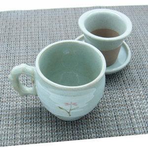 백유 패랭이 머그세트 커피잔 찻잔 거름망 전통 다기