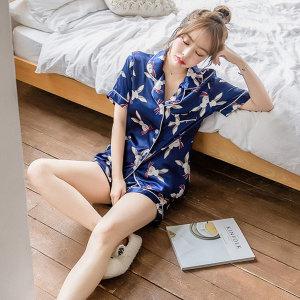 여름 잠옷세트 파자마 여성 여자 동물 커플 잠옷 실크