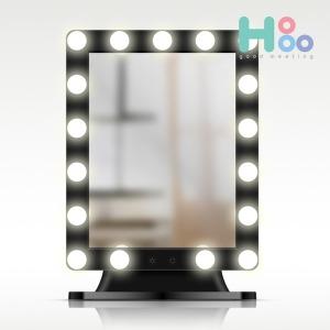 헐리우드 LED 조명 화장 메이크업 거울 탁상용_블랙