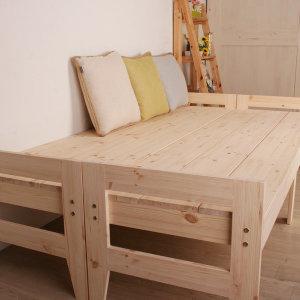 소나무원목 침대형 벤치 의자 소나무 공방에 제조