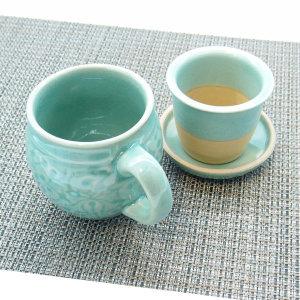 청자 항아리 당초 머그 세트 전통 커피잔 찻잔 다기잔