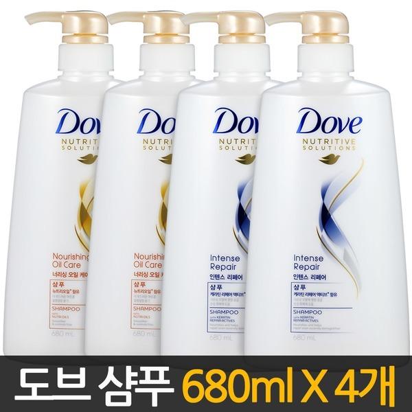 대용량 도브샴푸 680mlX4개/ 린스 트리트먼트 샴프