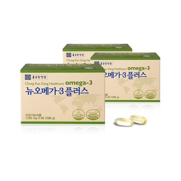 종근당건강 뉴오메가3 플러스 60캡슐X3통_6개월분