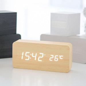 LED 와이드 우드 탁상시계/알람시계/무소음/인테리어
