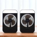 1+1 무선 휴대용 LED 네모 선풍기(블랙)/ 미니 탁상용