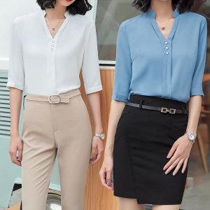 5부 셔츠 블라우스 여성 반팔여름 면접 유니폼