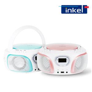 인켈 IK-WP100 핑크/민트 블루투스 4.2 CD플레이어 MP3 USB 라디오