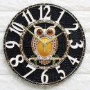 인테리어벽시계 큐트부엉이(중)-블랙/무소음시계 소품