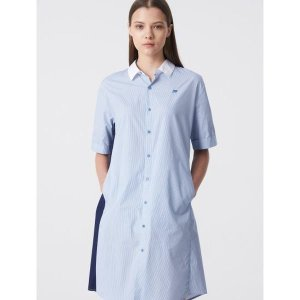 스카이 블루 스트라이프 배색 아우터형 롱 셔츠(BO9365C02Q)(BO9365C02)