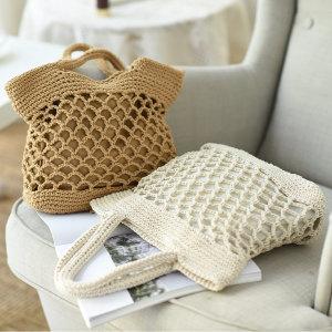 니트 네트백 여름 왕골 가방 비치백 밀짚 라탄백