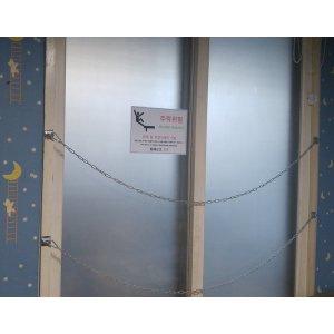 소방 비상구 추락방지/경보음발생장치+표지판+쇠사슬
