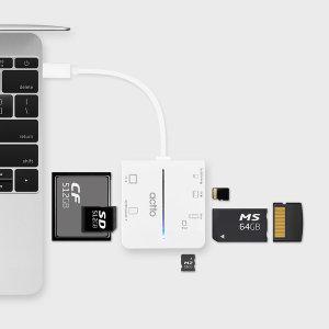 USB 3.0 타입C 6슬롯 카드리더기 CRD-42 화이트