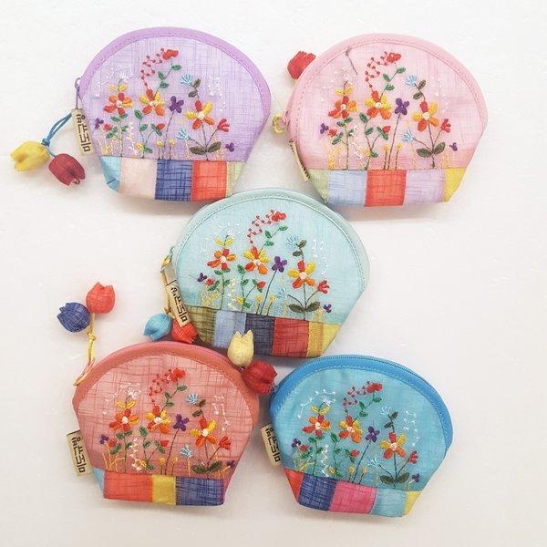 전통 동전지갑 미도규방 꽃 자수 5개 세트 외국인선물