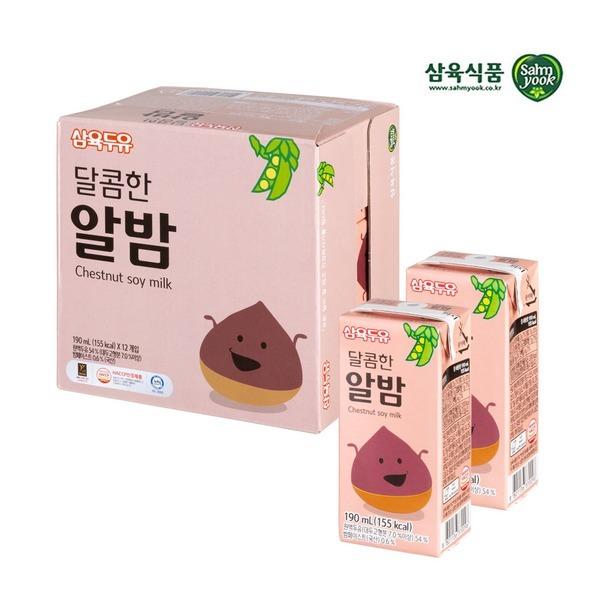 삼육 달콤한 알밤두유 190ml x 24팩 스마일배송