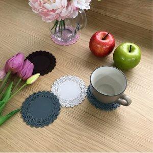 레이스포인트 컬러 실리콘 컵받침 커피잔받침 머들러