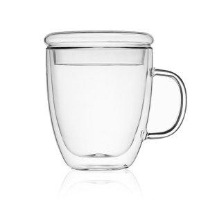 바오 뚜껑 유리컵(475ml)/이중유리 보온 머그컵