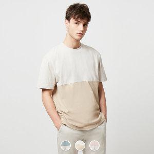 지오다노 029512 블로킹 크루넥 반팔 티셔츠