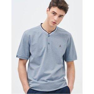 블루 로고 자수 티핑 헨리넥 티셔츠 (BC9342A11P)
