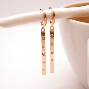 14k 스틱바 드롭 원터치 귀걸이