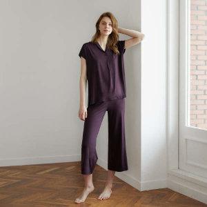 (현대백화점) 허비쉬  라운지웨어 홈웨어 잠옷 파자마 실내복 숄칼라 세트 - 퍼플와인