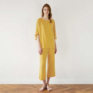 (현대백화점) 허비쉬  라운지웨어 홈웨어 잠옷 파자마 실내복 하프 배트윙 세트 - 옐로우