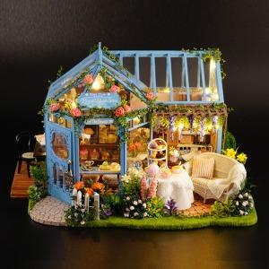DIY 미니어처 로즈 가든 카페 하우스 취미 집 만들기