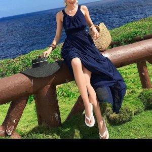 바캉스룩 해변 비치 블루 A라인 원피스