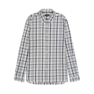티엔지티 아이보리 체크 면혼방 긴팔캐주얼셔츠 TGSH9B507IV