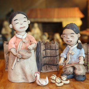 토우인형 닭모이 옛날 시골풍경 전통인형 도자기