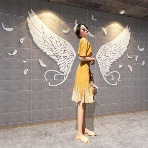 3D 카페 옷가게 공주 침실 천사 날개 벽 스티커 M WH