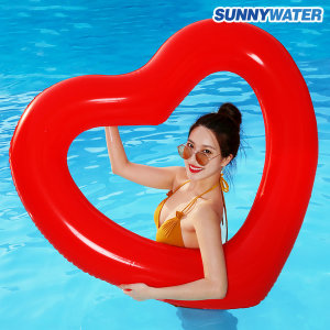 써니워터 대형 하트 튜브 원형 물놀이 보트 수영 레드