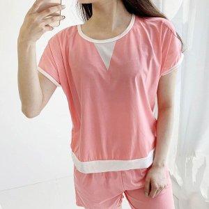 핑크 앤 화이트 상하세트 홈웨어 트레이닝복 여름잠옷