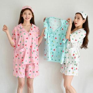 여름짱구도형남녀잠옷안대세트 XS(키즈)~XL(성인남성)