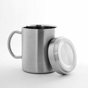 (쿠킹스)뚜껑 이중스텐 물컵(286ml) 잔 머그컵 물잔