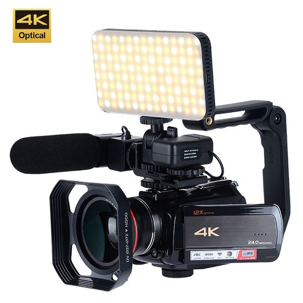 광학 12X 줌 4K 미니 핸디 캠코더 카메라