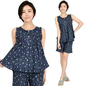 국내제작 순면60수 리본오리 여성 민소매 잠옷 세트 S M L