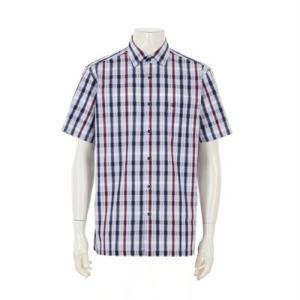 루이까또즈셔츠 일반핏 블루 체크 반소매셔츠 L9E302
