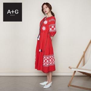 A+G  엣지 SUMMER19 에스닉 자수 썸머 드레스