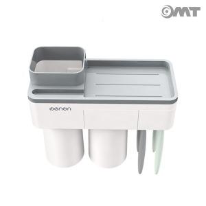 OMT 흡착형 2단 칫솔걸이 양치컵 욕실선반 OB-TH22