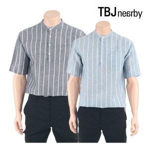 남성용 헨리넥 스트라이프 5부 셔츠(T182SH311P)