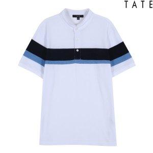 테이트 남성 가로배색 헨리넥 티셔츠